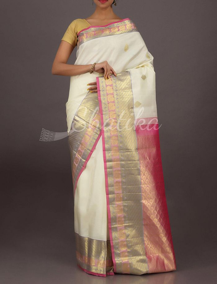 Keerti Serene Off White And Pink Ornate Border Pallu Pure #SalemSilkSaree
