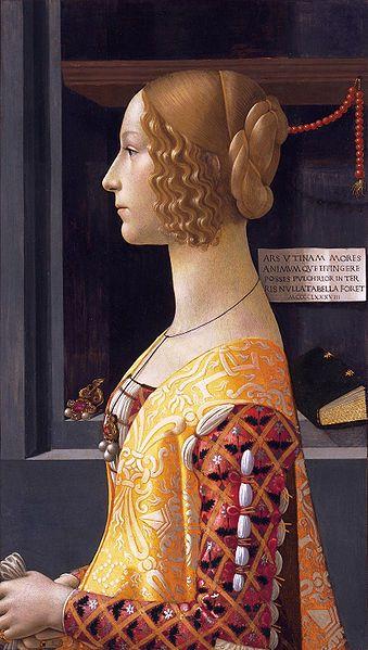 Domenico Ghirlandaio: Ritratto di Giovanna Tornabuoni Ritratto di Giovanna Tornabuoni, 1488, tempera su tavola, cm. 76 X 50, Museo Thyssen-Bornemisza, Madrid.