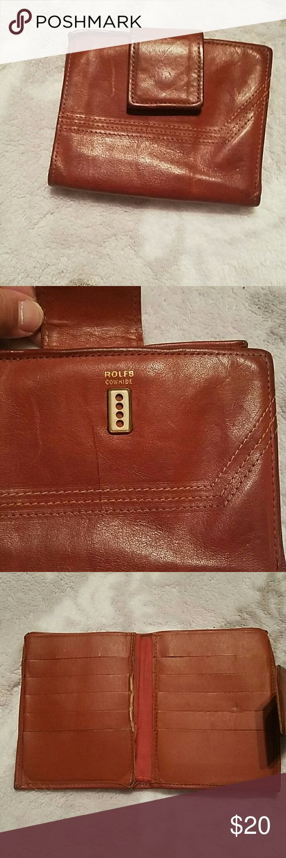 Rolfs Wallet Rolfs Cowhide Vintage wallet, beautiful cognac color. Has wear to it as shown, but still has alot of life to it. Rolfs  Accessories