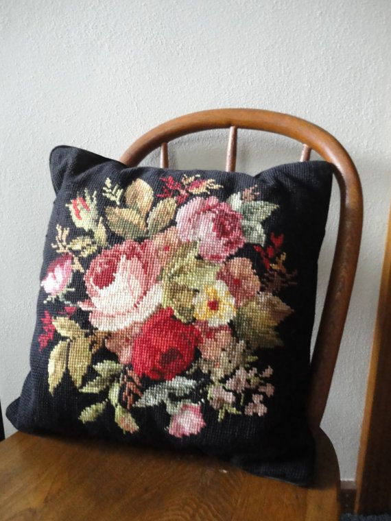 Pretty black pillow with floral needlepoint by sweetoldthings, $16.00