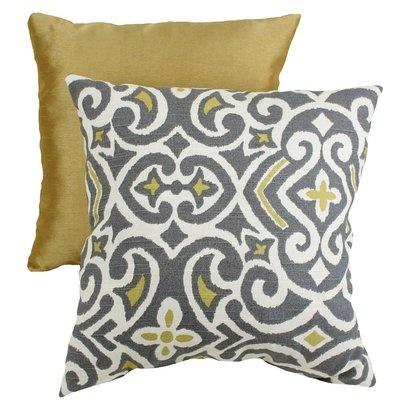 Decorative Damask Square Toss Pillow - Gray/Yellow