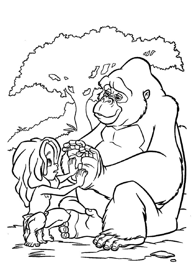 Tarzan Sad With Kala Coloring Pages For Kids Printable