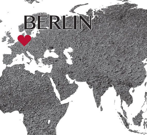 Mejores 56 imgenes de cityscape world map wall art en pinterest custom map printable berlin world map world map art custom location print berlin art gumiabroncs Image collections