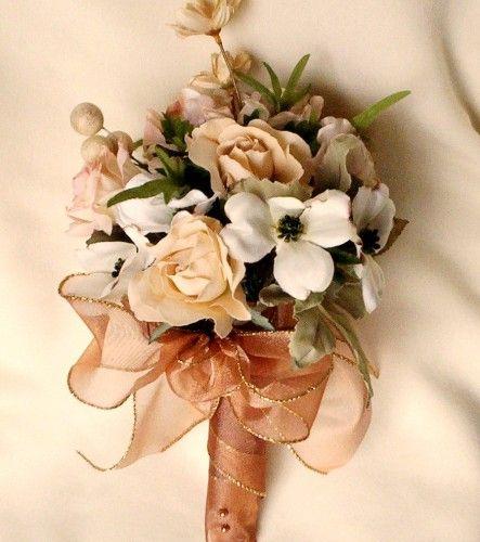 silk wedding bouquets silk fall bridal bouquet champagne ivory natural neutral hues