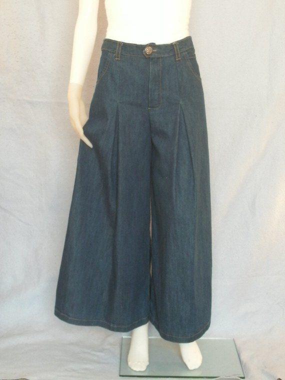 8926648a3b90a Modest Denim Culottes Pants--- Denim Skirt--- Culotte Skirt--- Riding Skirt---  CUSTOM MADE