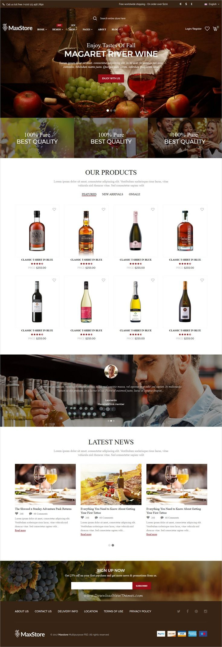 Maxstore is clean, stylish and modern design responsive #HTML template for stunning #wine #liquor shop #eCommerce website with 12 niche homepage layouts download now..