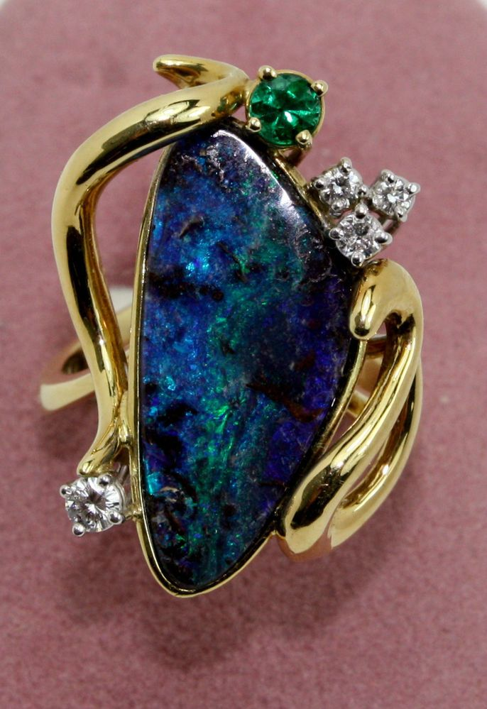 ARTISTIC HAND MADE 18K GOLD AUSTRALIAN BOULDER OPAL,EMERALD & DIAMOND RING MW