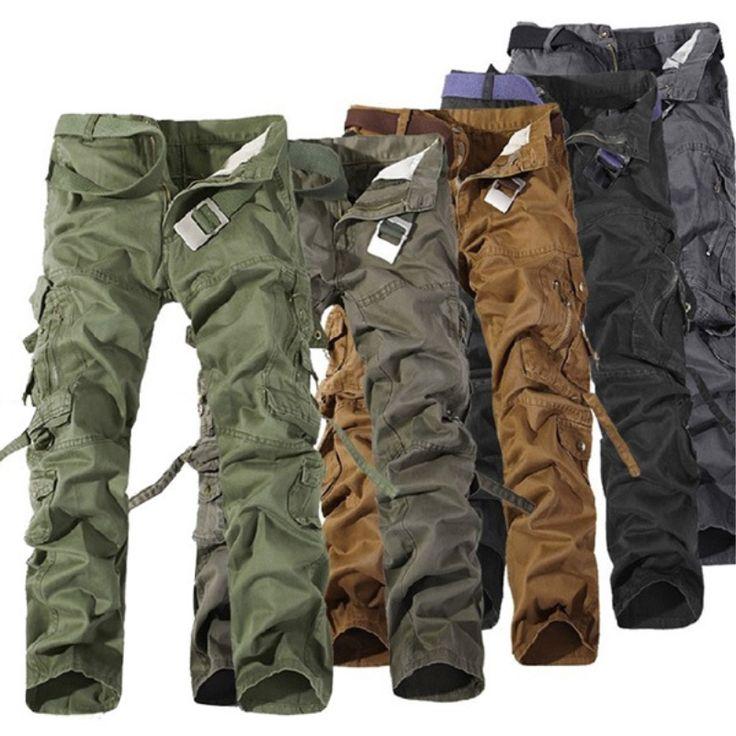 Hot Sale 2017 Men Pants Cotton Casual Military Army Cargo Pants Fashion Multi-Pocket Combat Work Pants Trousers (No Belt)