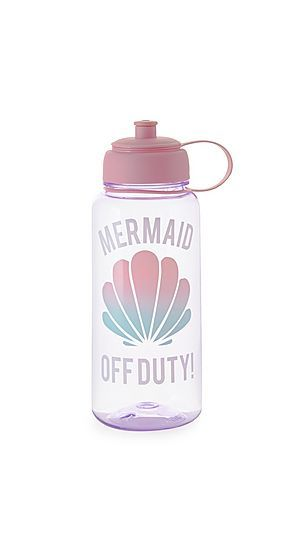 Purple Mermaid Off Duty Print Water Bottle