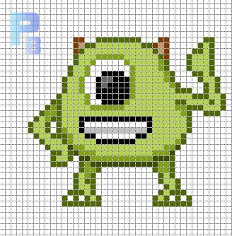 Mike Monsters, Inc. perler pattern - Patrones Beads / Plantillas para Hama