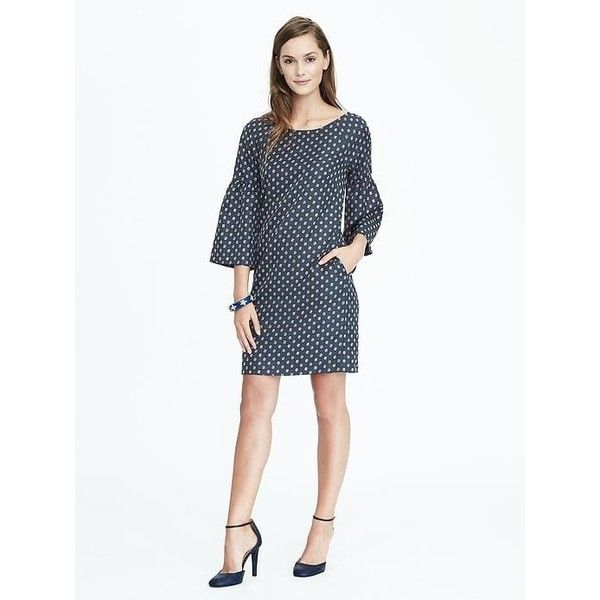 Banana Republic Womens Bell Sleeve Print Dress ($128) ❤ liked on Polyvore featuring dresses, petite, teal, pattern dress, petite dresses, white long-sleeve dresses, long sleeve print dress and scoop neck dress