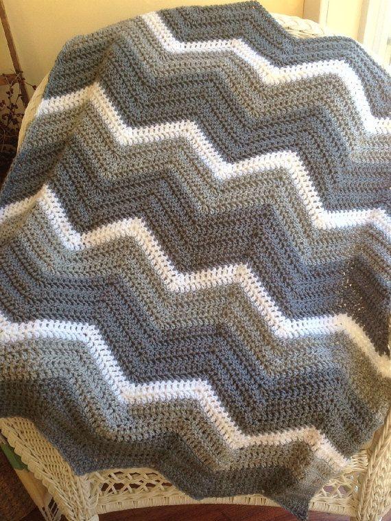 chevron zig zag ripple baby blanket afghan by JDCrochetCreations, $80.00