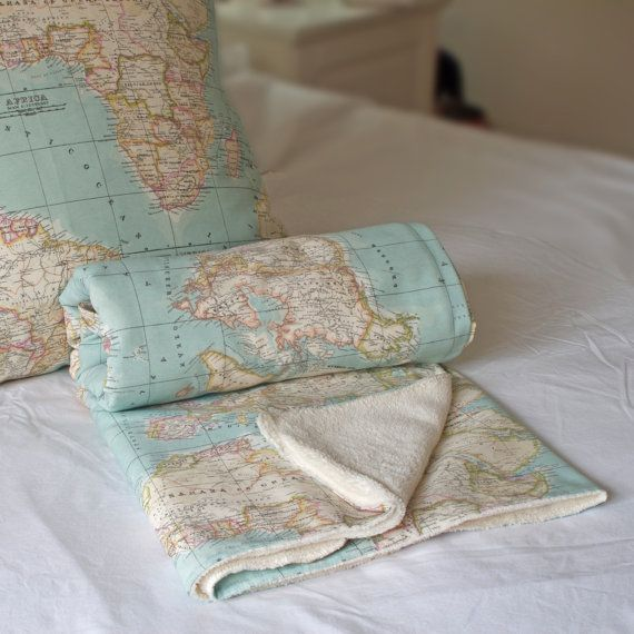 World Map Baby Blanket map blanket blue blanket baby by WIKIPILLOW