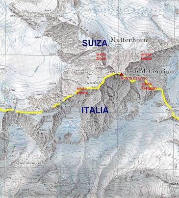 Border between Switzerland and Italy. Pennine Alps.