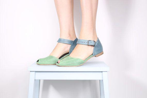 Peep toe leather sandals  handmade leather sandals  by ADIKILAV