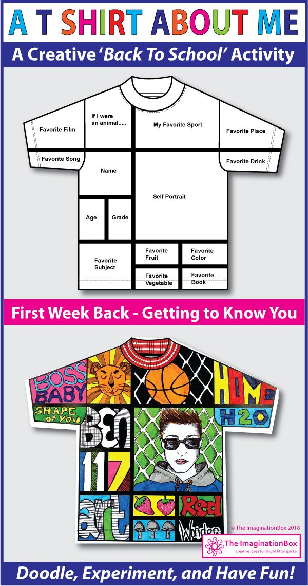 This 'All About Me T shirt' art and writing activity is an easy back to school art activity for the classroom. A great lesson plan for 4th, 5th, 6th, 7th grade teachers to use as a fun first week back getting to know you resource, encouraging team building and learning. The finished coloring pages make great displays for bulletin boards and open house. Click the 'visit' button to view this detailed teacher resource in full