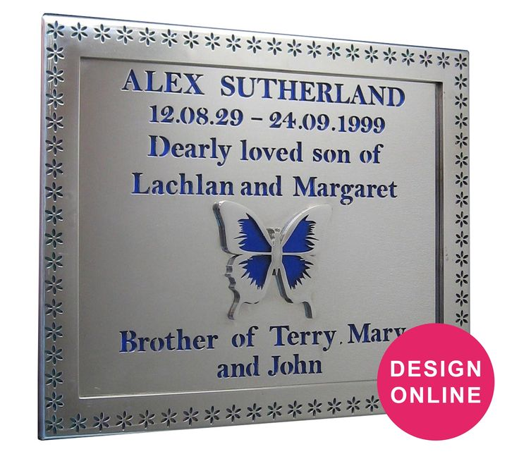 Stainless Steel plaque with light-transmitting glass inscriptions and motifs designed by Forever Shining Australia. Design yours now on our website. Order Online - Ship World Wide