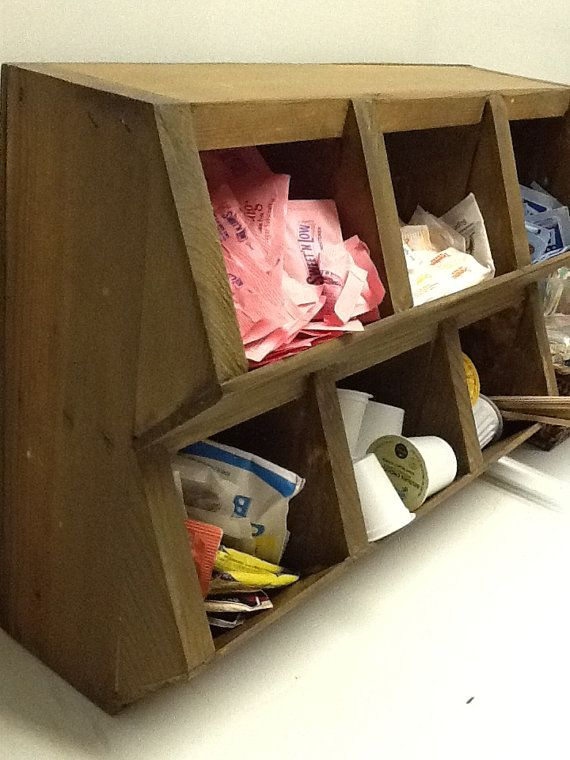 Wood Coffee Station Cubbies- great way to organize sweetners, tea bags and Keurig pods!