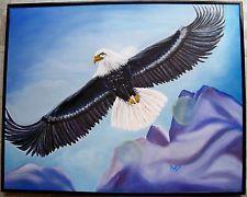Soaring Eagle, Original, signed oil painting of Bald Headed Eagle