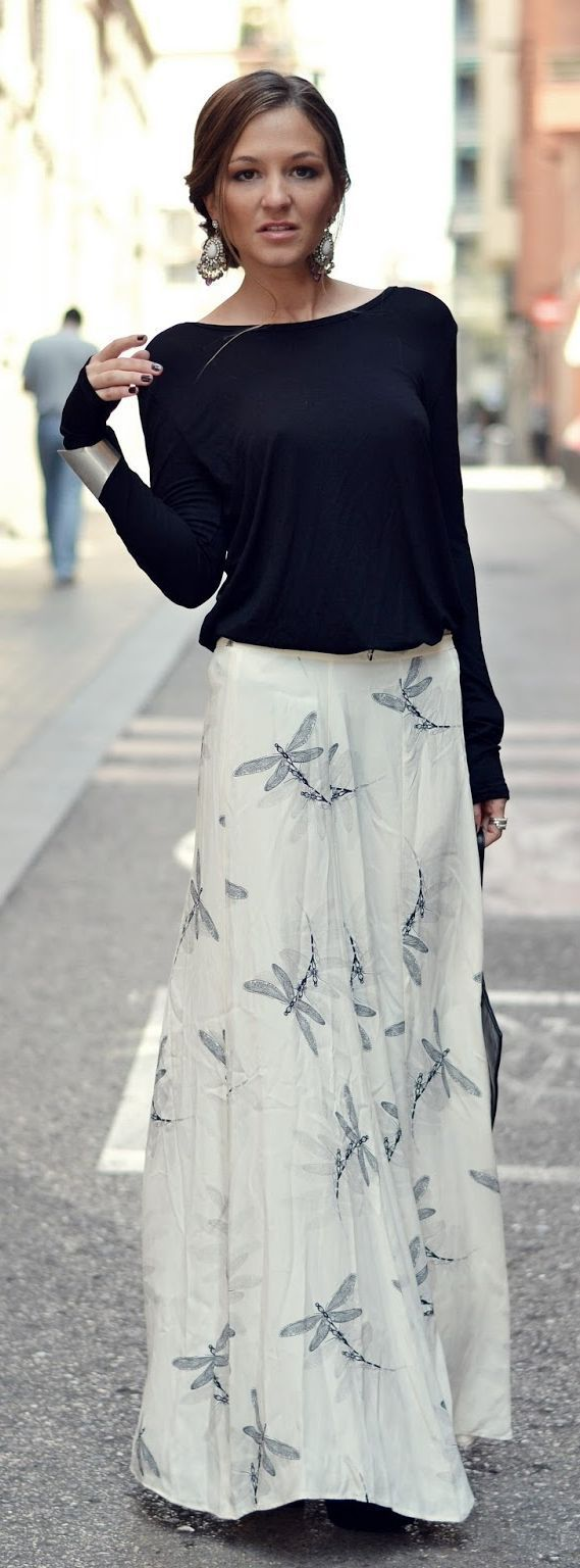 Lullaby Print Maxi Skirt and Black Long Sleeve Top...