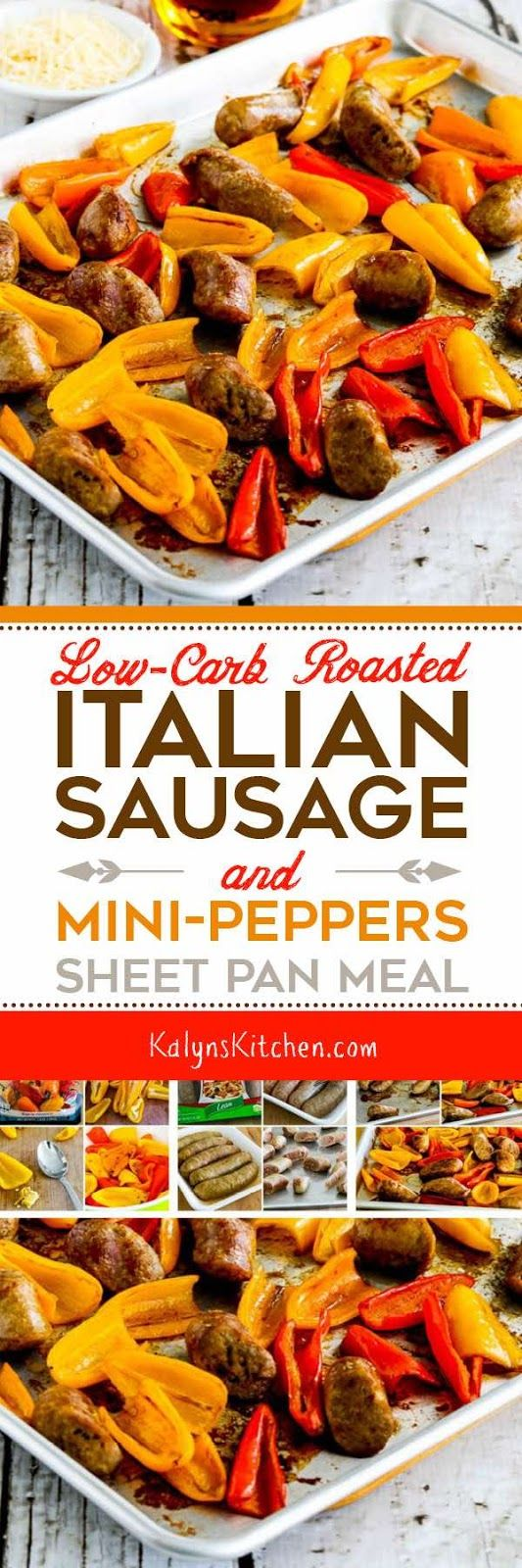 This Low-Carb Roasted Italian Sausage and Sweet Mini-Peppers Sheet Pan Meal is easy and delicious for a quick dinner on a work night; add some slivers of red onion if you'd like! And this easy and tasty sheet pan meal is low-carb, Keto, low-glycemic, gluten-free (with gluten-free sausage), and South Beach Diet friendly. [found on KalynsKitchen.com]