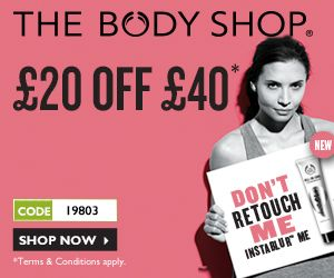 If you need to stock up at The Body Shop now it's the time to do it. They are offering £20 off when you spend £40 using the code: 19803.  The offer ends on Tuesday 27th May.