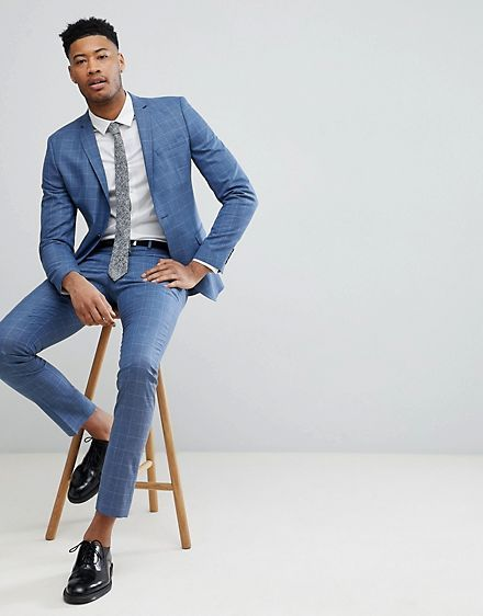 4a897c7fff68 Selected Homme TALL Skinny Fit Suit In Navy Grid Check | wardrobe inspo in  2019 | Fashion, Skinny fit suits, Mens fashion:__cat__