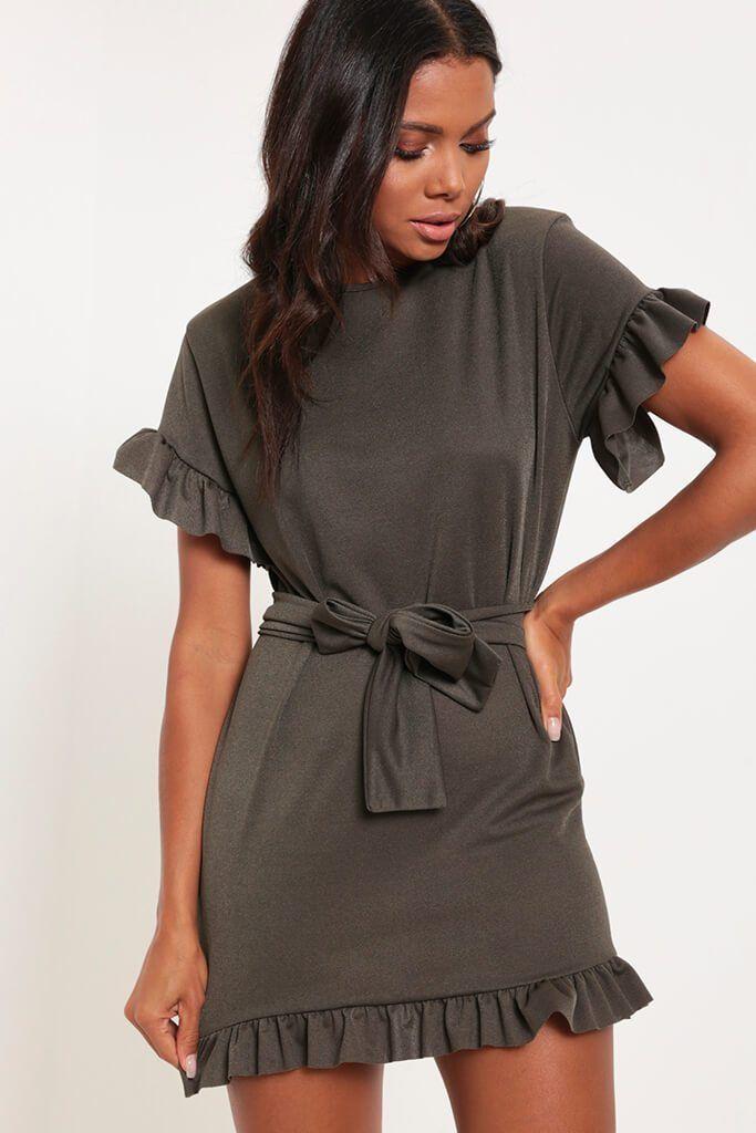 04020f15b10 Khaki Tie Waist Frill Detail Dress - PDP – I SAW IT FIRST