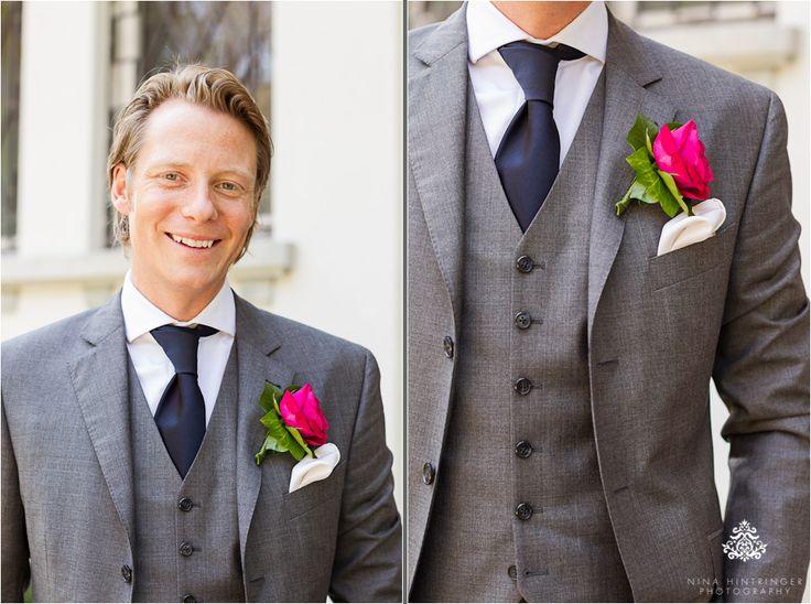 Klassischer 3-teiliger Anzug in grau für den #Bräutigam mit marineblauer Krawatte