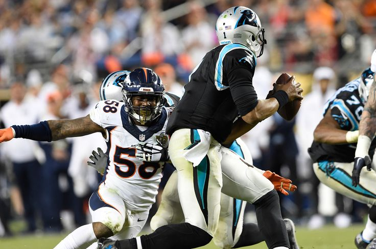 SANTA CLARA, CA - FEBRUARY 07: Von Miller (58) of the Denver Broncos sets his sights on Cam Newton (1) of the Carolina Panthers in the fourth quarter. The Denver Broncos played the Carolina Panthers in Super Bowl 50 at Levi's Stadium in Santa Clara, Calif. on February 7, 2016. (Photo by Joe Amon/The Denver Post) | Fight to the Finish: The Denver Broncos' 2015 Championship Season