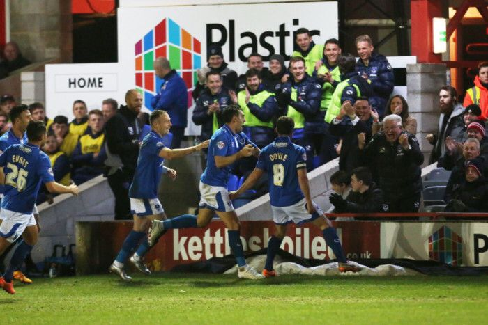 Pompey players celebrate Michael Doyle wonder goal against Accrington Stanley in league two this season 2015-16