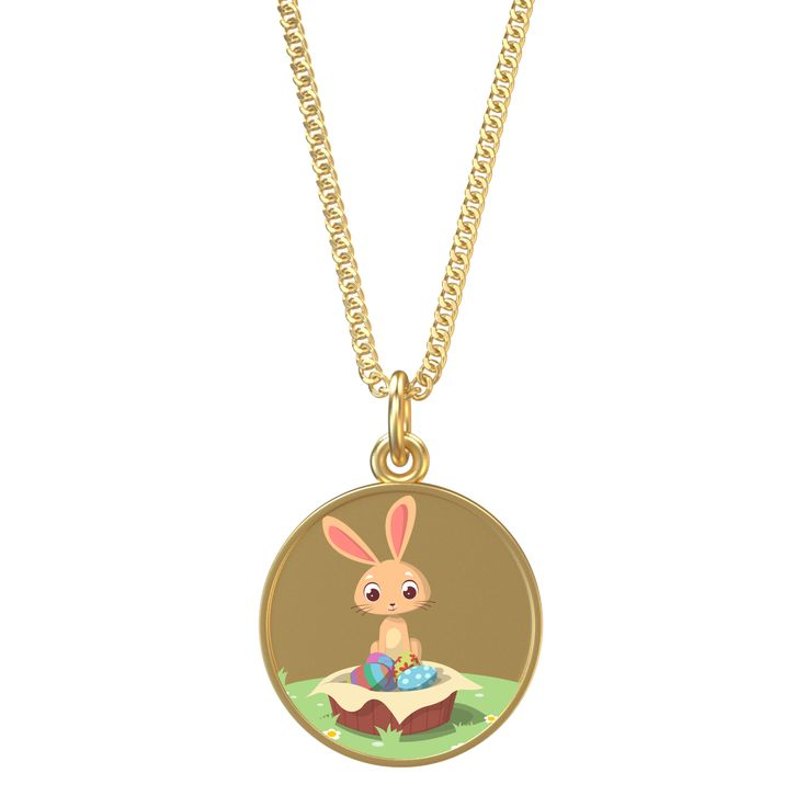 "Gold Pendant Necklace with Easter Bunny 16"" Chain Order Here https://goo.gl/eQsVgL  #jewellery #silver #style #charms #fashionaddict #bracelets #gift #fashionblogger #charmbracelet #fashion"