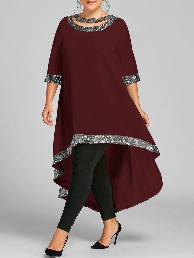$24.41--Plus Size Sequined Hem High Low Dress, WINE RED, 3X/18 in Plus Size Dresses | DressLily.com