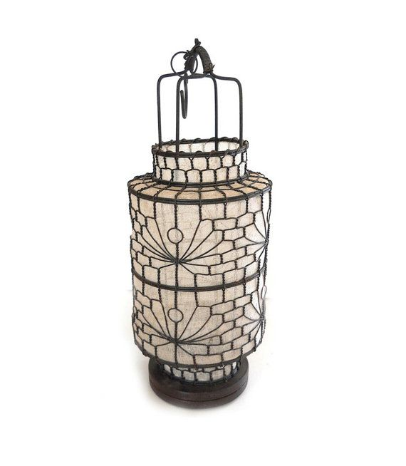vintage hanging Chinese lantern  white fabric  wire by exoticargo, $50.00
