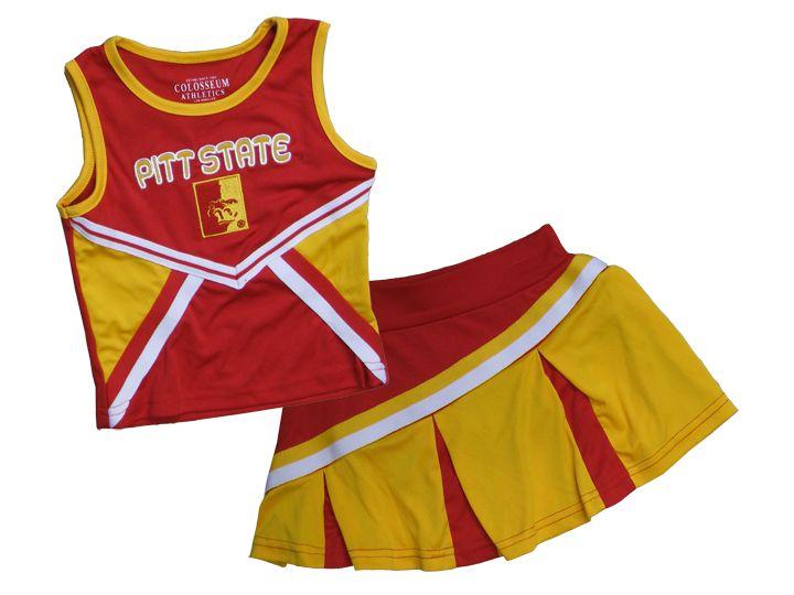 Pitt State Toddler Girls Cheer Uniform Colosseum Athletics - Red/Gold