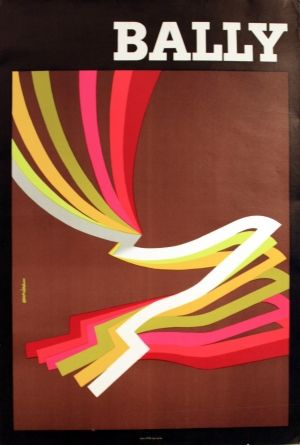 Vintage Poster - Bally - Mens Shoes - Neon - Fluro - 1965 - by Aurian listed on AntikBar.co.uk