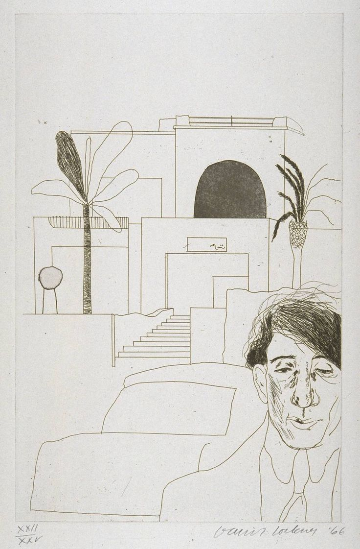 David Hockney - Portrait of Cavafy II.  This is one of thirteen etchings for Illustrations for Fourteen Poems from C.P. Cavafy