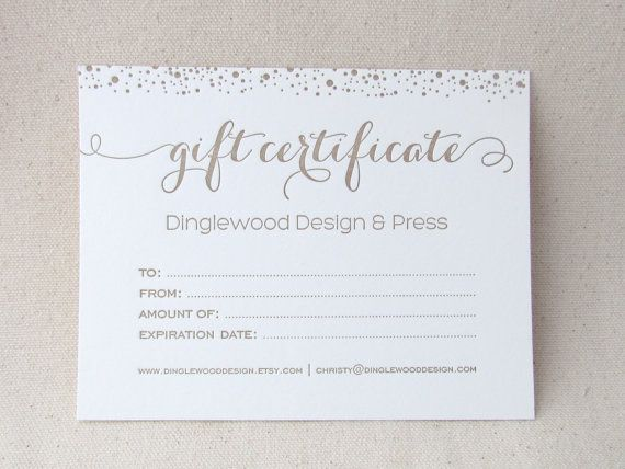 Letterpress Gift Certificate with envelope Letterpress - gift certificate samples