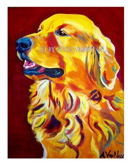 Colorful Pet Portrait Golden Retriever Dog Art Print 8x10 by Alicia VanNoy Call., via Etsy.