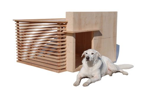 Architectura is a modern dog house inspired by the work of Frank Lloyd Wright designed and created by David M. Neighbor of Pre Fab Pets.