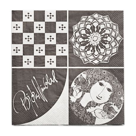 These delicate, dark-grey, 3-layer paper dinner napkins with Wiinblad mini mosaic motifs bring refined shapes and figures to table settings. #bjørnwiinblad