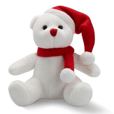 Ursuletul Mos Craciun - 21 LEI Jucaria perfecta pentru Craciun: ursuletul e dragalas, de un alb imaculat, cu nasul rosu si, ca sa nu ii fie frig, are prins la gat un fular rosu si o caciulita de Craciun care ii acopera urechea stanga.