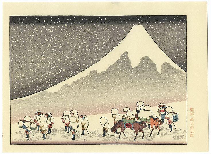 Fuji in Deep Snow by Hokusai (1760 - 1849)