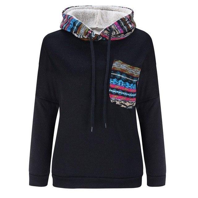 Autumn Winter Warm Women Hoodies Sweatshirts Casual Long Sleeve Slim Hooded Coats Jackets Outwear Plus Size Black L