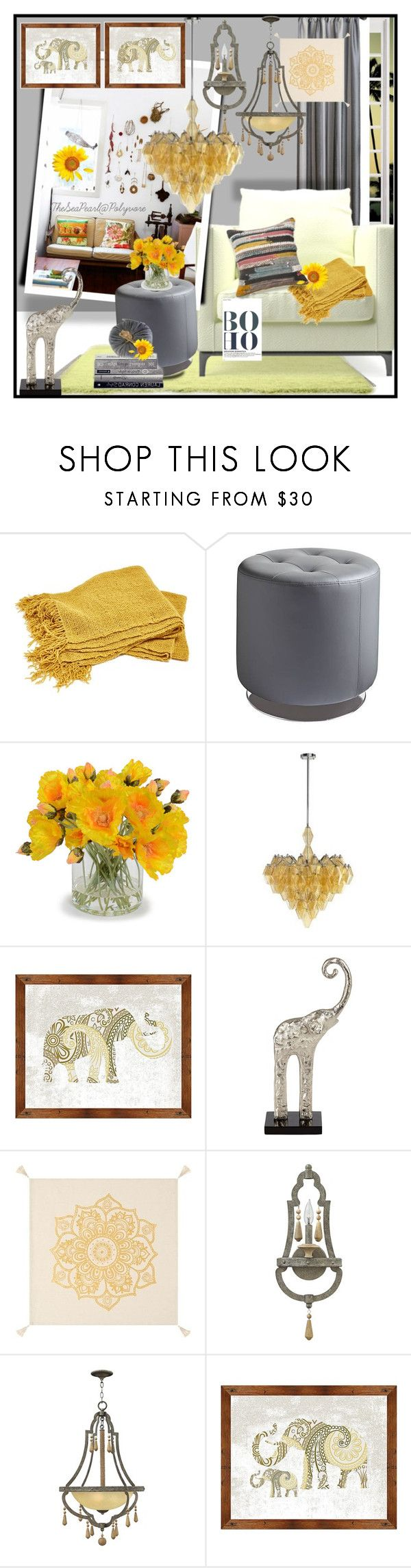 """""""Modern Bohemian Space"""" by theseapearl ❤ liked on Polyvore featuring interior, interiors, interior design, home, home decor, interior decorating, New Growth Designs, Cyan Design, Universal Lighting and Decor and PBteen"""