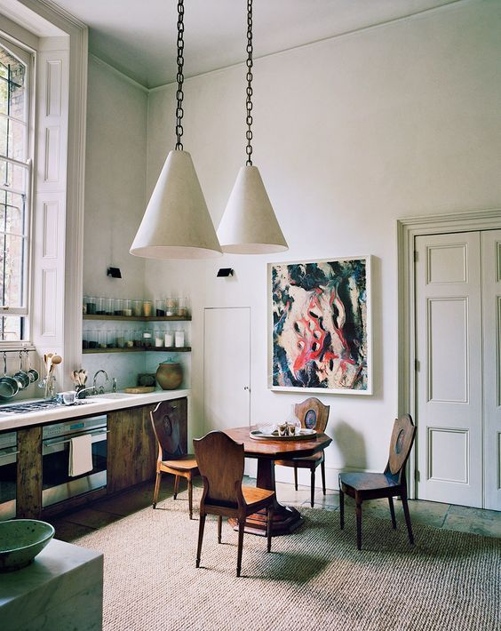 "Rose Uniacke's London home from Vogue (March 2017), via Habitually Chic. Uniacke describes it as, ""monastery meets Venetian palazzo."""