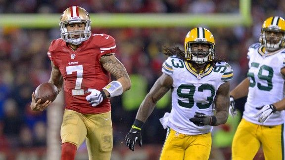 Colin Kaepernick running away from the Packers. Jan 12th 2013.