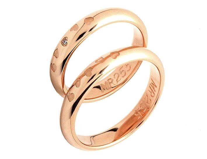Rose Gold Wedding Bands - traditional shape in modern rose gold colour