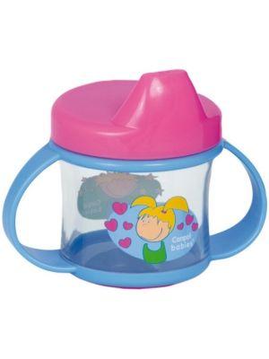 Przeznaczony dla dzieci powyżej pierwszego roku życia. Wygodne uchwyty ułatwiają utrzymanie kubeczka w małych rączkach. Specjalne zaworki umożliwiają wypływ płynu tylko na skutek ssania.