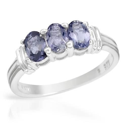 925 Sterling Silver Ring With Iolites - Size 8.  Ladies ring well made in 925 sterling silver with iolites. Total item weight 3.1g. Gemstone info: 3 iolites, 0.60ctw., with oval shape and blue violet color.